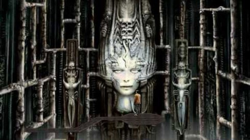 A screenshot from the 1992 point-and-click horror game 'Dark Seed', which is based on the art of H.R. Giger.