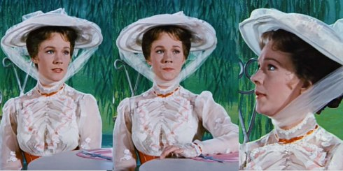 The three stages of Mary Poppins getting pissed.